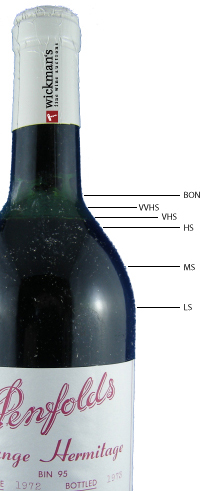 Ullage image using a bottle of Penfolds Grange to show levels