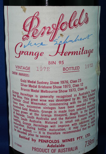 Grange Hermitage signed by Max Schubert